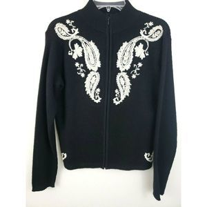 Wool Cardigan Sweater Embroidered